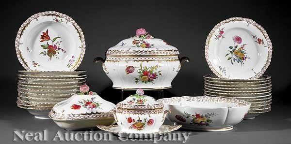 0024: French Gilt-Decorated Porcelain Dinner Service