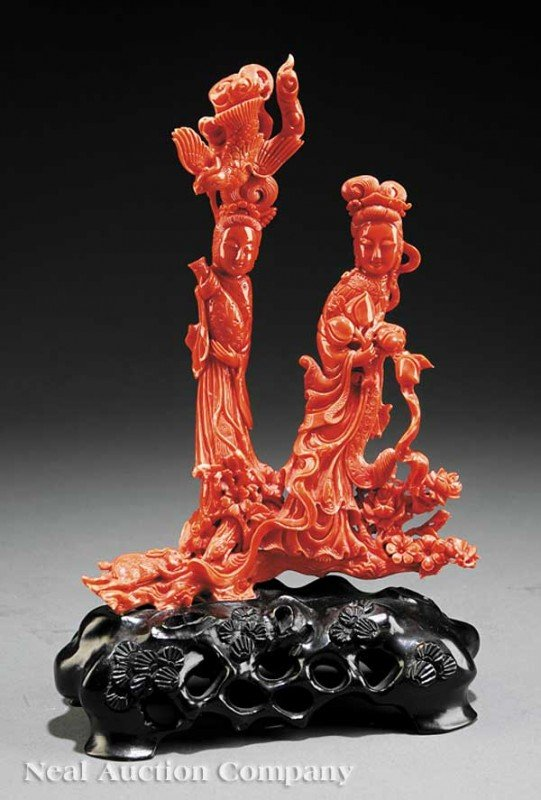 0197: Chinese Carved Coral Figural Group Two Beauties