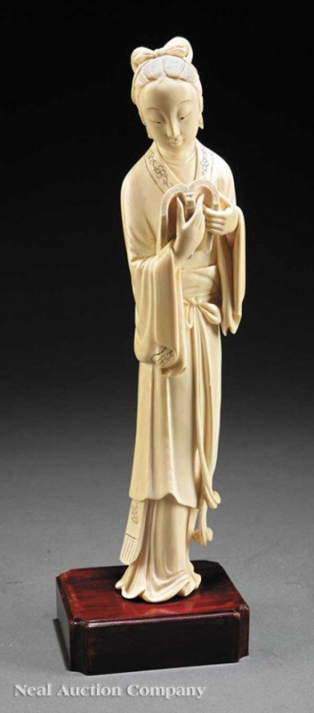 0604: Chinese Carved Ivory Figure of a Beautiful Maiden