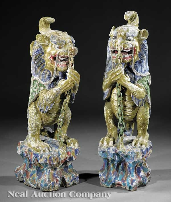 0672: Chinese Painted Carved Wood Guardian Dragons
