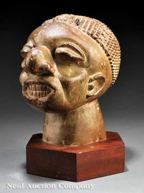 0675: Sierra Leone Carved Stone Head, Mahen Yafe