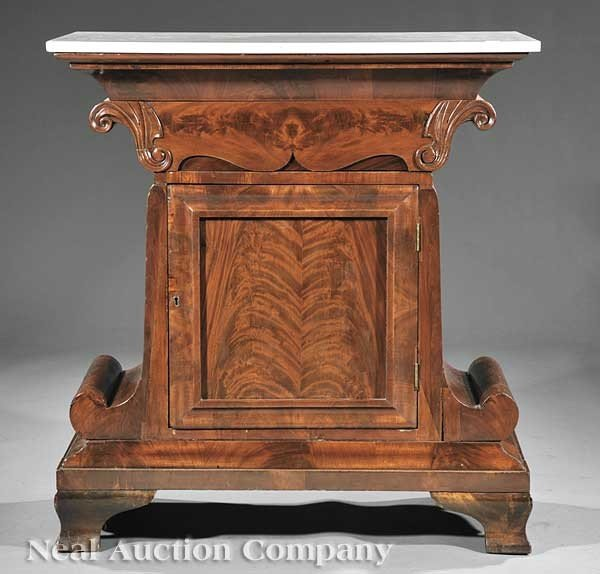 0824: Late Classical Carved Mahogany Mixing Table