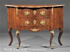 0911 Inlaid Walnut Bronze Mounted Serpentine Commode