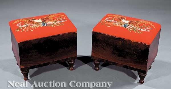0014: Pair of American Federal Mahogany Box Stools