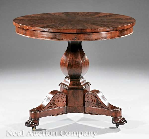 0015: American Classical Mahogany Center Table