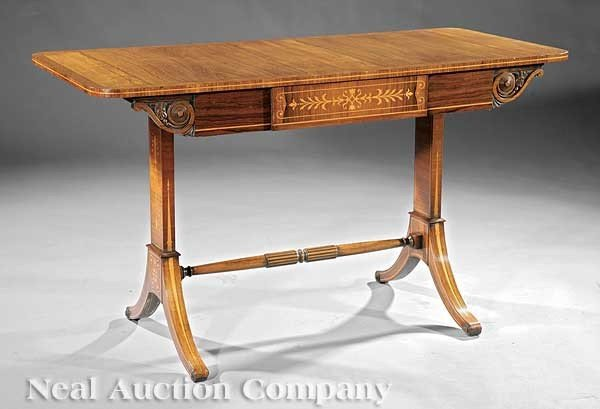0017: Regency-Style Inlaid Rosewood Sofa Table