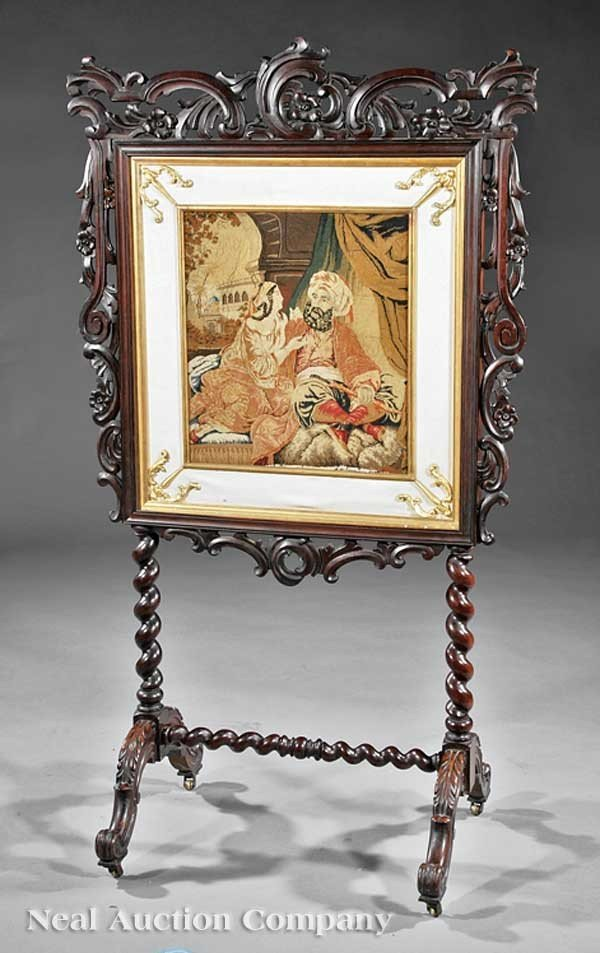 0020: English Carved Rosewood Firescreen
