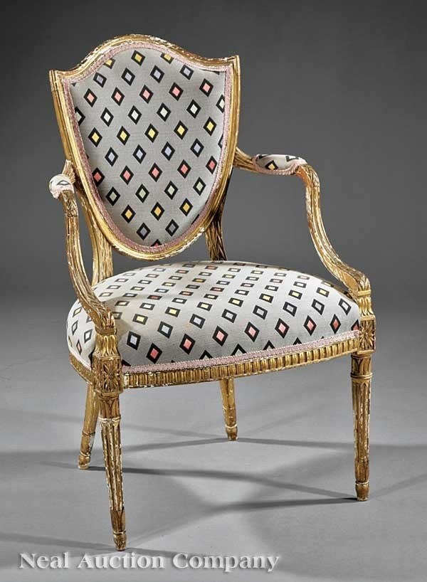 0021: George III Carved and Giltwood Armchair