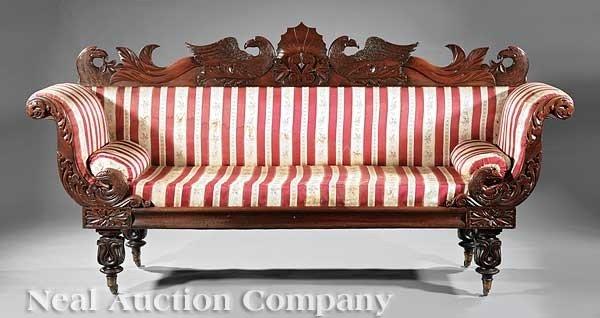 0022: William IV Carved Mahogany Sofa