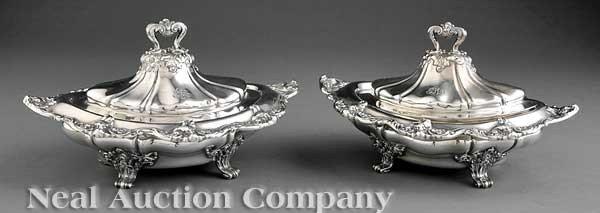 0244: Pair Gorham Sterling Silver Vegetable Tureens