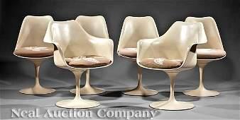 0887 Eero Saarinen Tulip Dining Chairs labeled Knoll