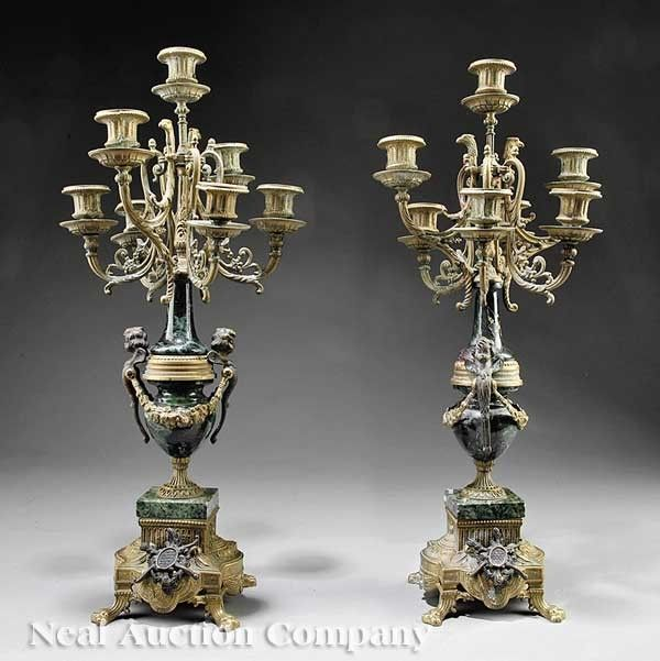 Gilt and Patinated Bronze-Mounted Candelabra