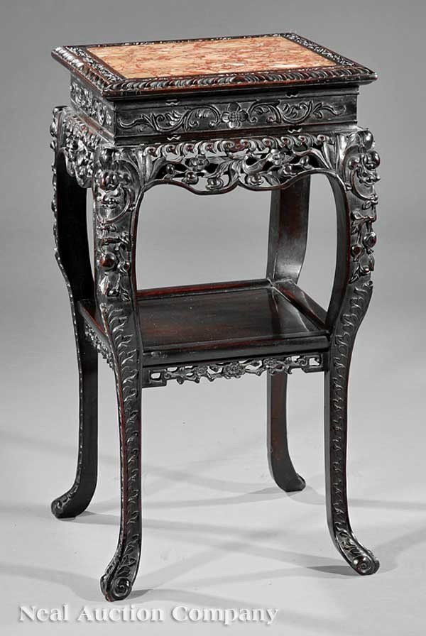 1149: Chinese Highly Carved Hardwood Side Table