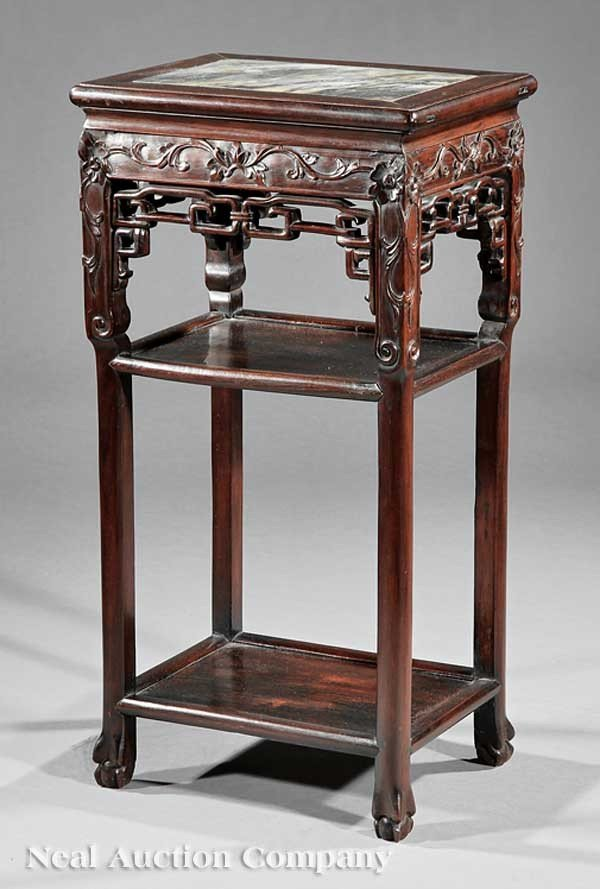 1150: Chinese Carved Hardwood Tabouret