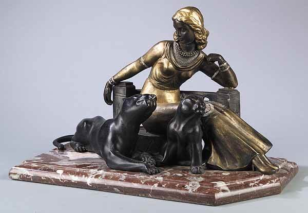 0001: French Art Deco Metal and Marble Figural Group