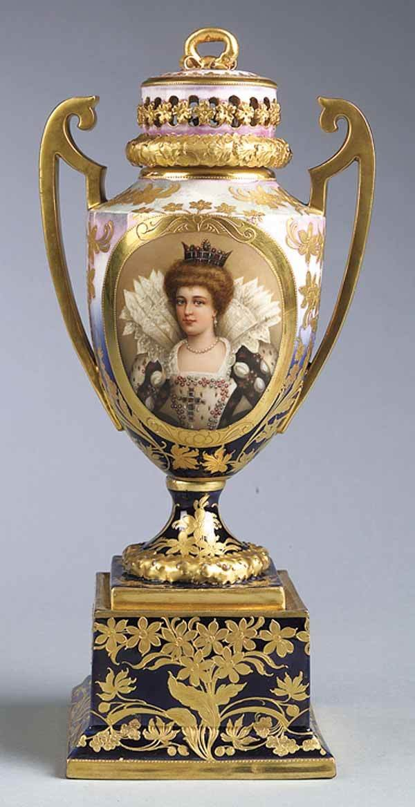 0002: French Gilt & Polychromed Porcelain Portrait Bust