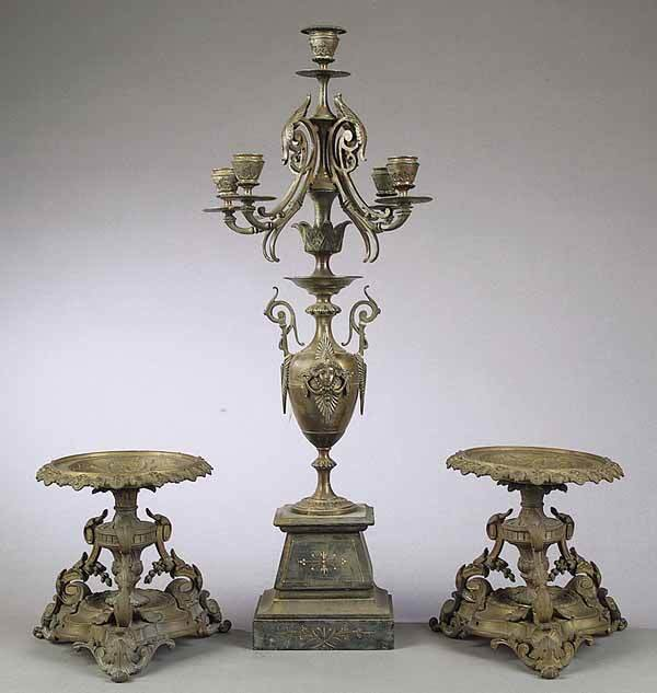 0006: French NeoGrec Bronze 5-Light Candelabrum c. 1870