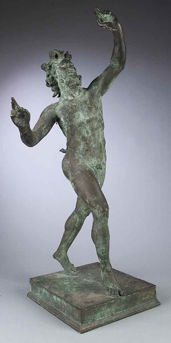 0015: Patinated Bronze Figure  Dancing Faun of Pompeii