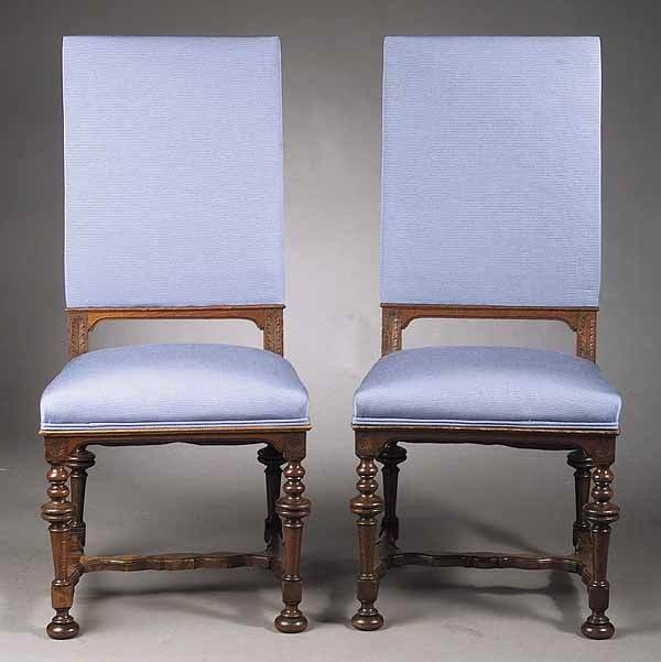 0019: Pair of English Modern Gothic Oak Sidechairs