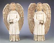 0181: Antique Continental Carved and Polychromed Angels