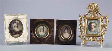 1030: Group of Four Portrait Miniatures