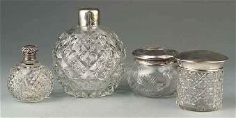 0735 4 Sterling SilverMounted Glass Dresser Jars