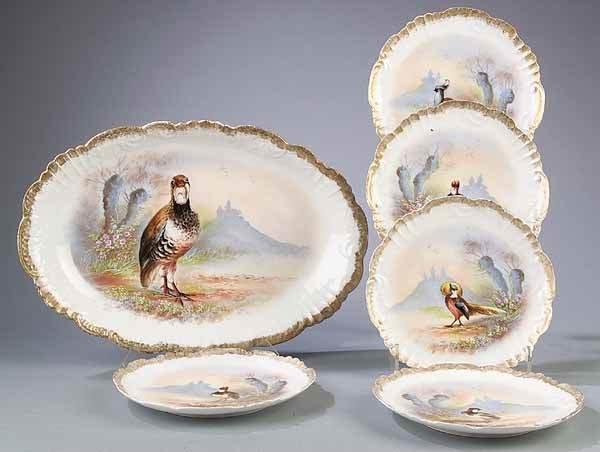 0688: Limoges Polychromed Porcelain Game Set