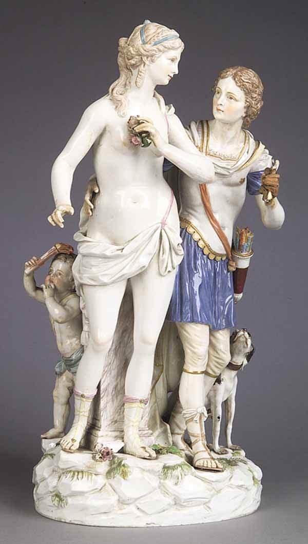 0685: Meissen Polychromed Porcelain Figural Group