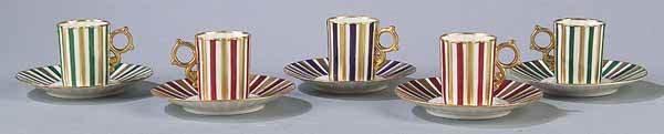 0680: 5 Ginori Porcelain Demitasse Cups and Saucers