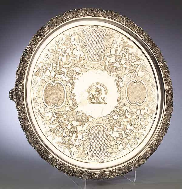 0675: Victorian Silverplate Footed Circular Tray