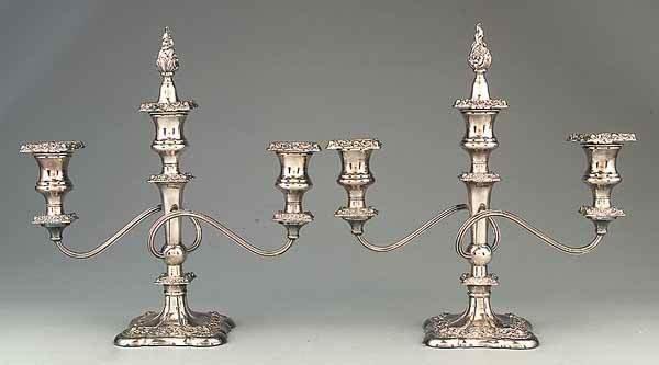 0672: Pair of Silverplate Three-Light Candelabra