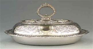 0669 English Silverplate Oval Lidded Entre Dish