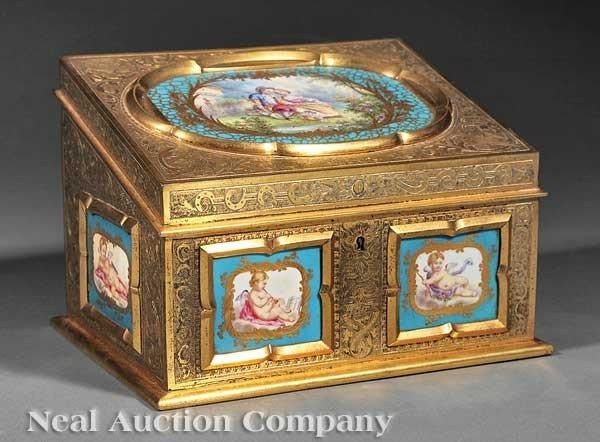 0010: Gilt Bronze and Sèvres Porcelain Stationery Box