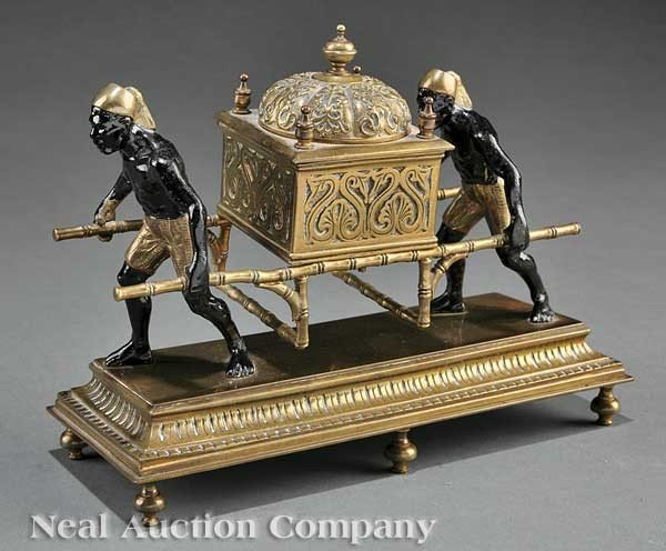 0011: Gilt and Patinated Bronze Figural Encrier