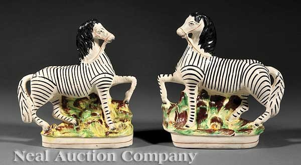 0014: Pair of English Staffordshire Pottery Zebras