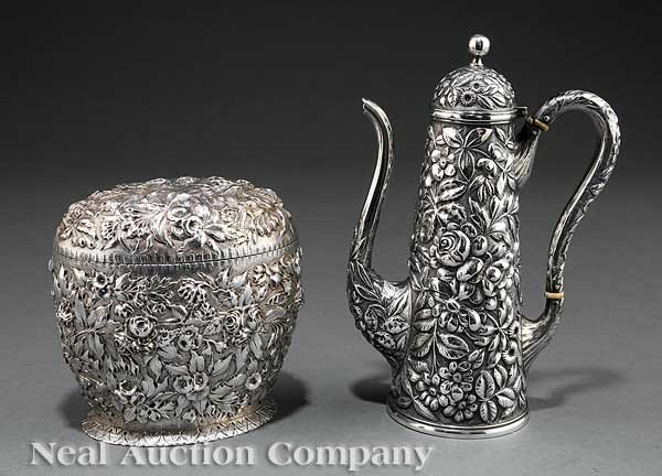 0017: Kirk & Son Coin Silver Repousse Tea Caddy