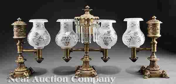 0120: Messenger & Son Gilt Bronze Argand Lamp Garniture