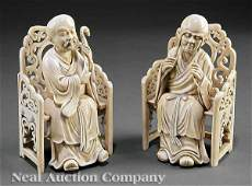 0136: Pair of Chinese Ivory Figures of Lohans
