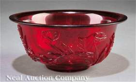 0145 Chinese Ruby Red Carved Glass Bowl