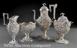 0308: A. E. Warner Sterling Silver Repousse Tea Service