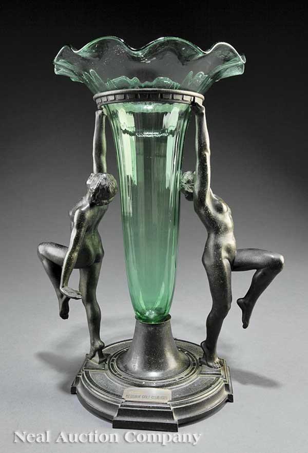 "0675: Metal and Glass Figural Vase, ""Rehberger"""