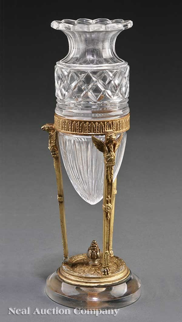 0677: French Empire Gilt Bronze and Cut Glass Vase