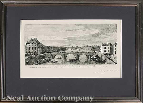 "0685: Four French Prints ""Views Along the Seine"""
