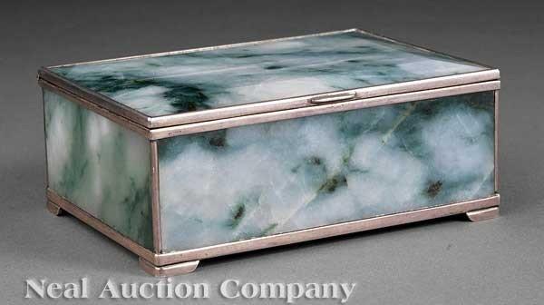 0687: Japanese Silver-Mounted Jadeite Box
