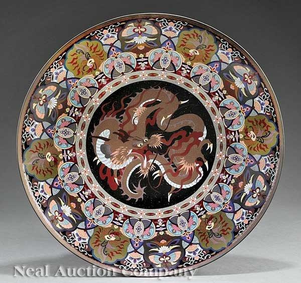 0688: A Monumental Japanese Cloisonné Enamel Charger