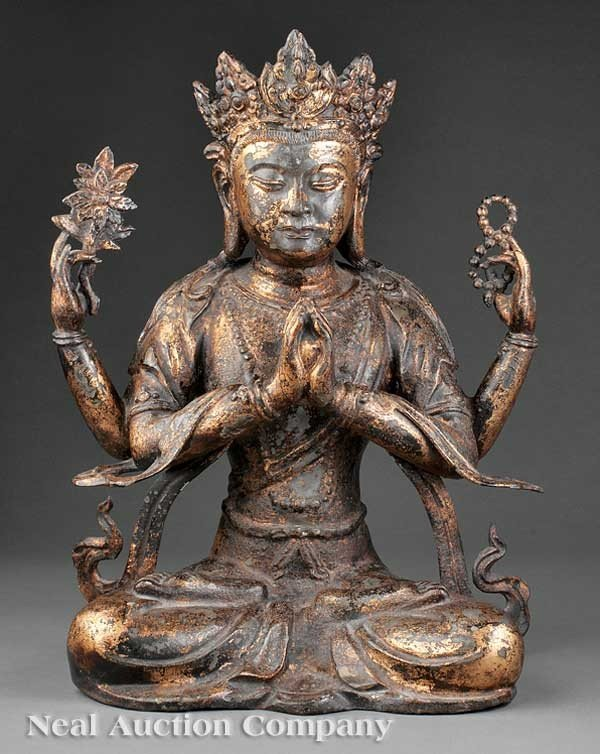 0692: Sino-Tibetan Gilt Bronze Four-Armed Bodhisattva
