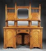 1062: Arts and Crafts Carved Oak Pedestal Sideboard