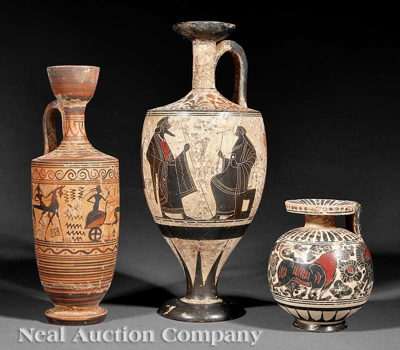0004: A Group of Three Grand Tour Ceramic Vessels, in t