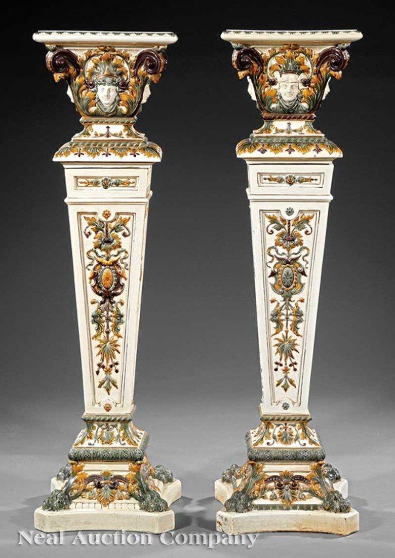 0009: APair of Rörstrand Majolica Pedestals