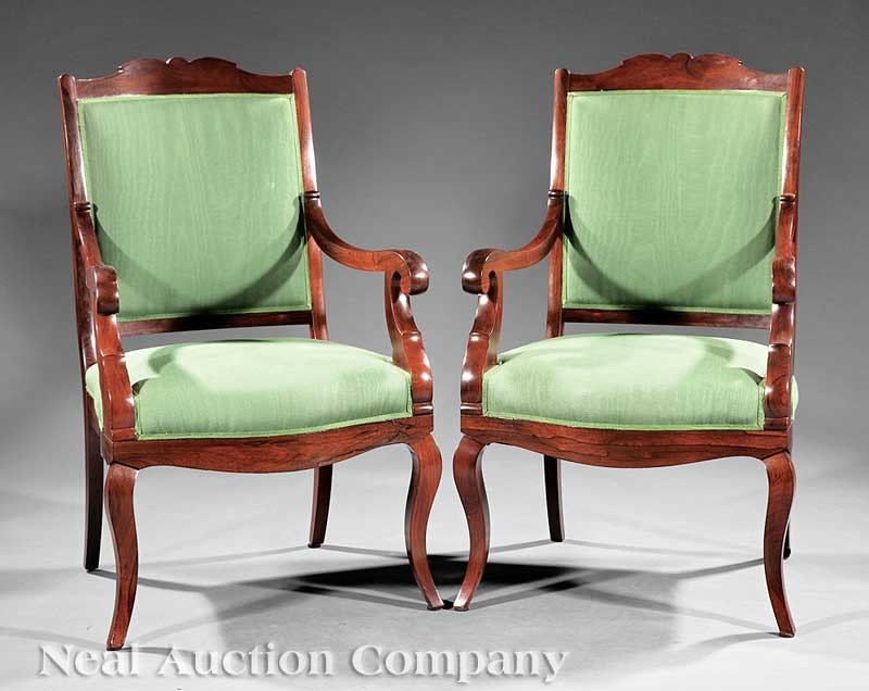 0022: A Pair of American Late Classical Carved Rosewood